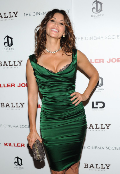 Gina Gershon Cocktail Dress [cocktail dress,clothing,dress,shoulder,fashion model,green,fashion,joint,long hair,neck,gina gershon,killer joe,inside arrivals,screening,tribeca grand hotel - screening room,new york city,cinema society with bally deleon host a screening of ld entertainment,bally deleon]