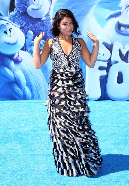 Gina Rodriguez Fringed Dress [clothing,dress,blue,fashion,fashion model,premiere,carpet,electric blue,performance,flooring,arrivals,gina rodriguez,smallfoot,california,regency village theatre,warner bros. pictures,westwood,premiere,premiere]