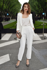 Kasia Smutniak suited up in all white for the Giorgio Armani 40th anniversary reception.