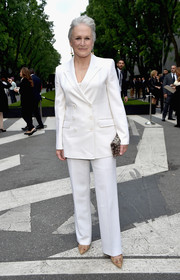 Glenn Close looked pristine in a crisp white pantsuit during the Giorgio Armani 40th anniversary reception.