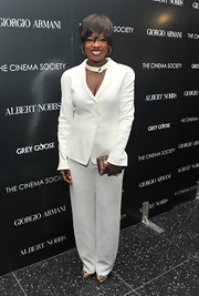 Viola Davis was all smiles at The Cinema Society's Screening 'Albert Nobbs' in a relaxed white suit and a matching choker necklace.