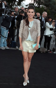 Giulia Michelini rocked a soft gray embellished jacket over a pastel top and shorts.
