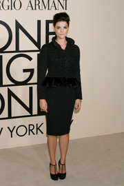 Jaimie Alexander donned an ultra-chic black pencil skirt and tweed jacket combo at the Giorgio Armani SuperPier show.