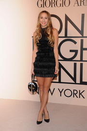 Harley Viera-Newton looked stylish and sexy in a tiered LBD during the Giorgio Armani SuperPier show.