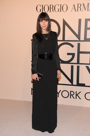 Rebecca Dayan was all about simplicity in this long-sleeve black evening dress at the Giorgio Armani SuperPier show.