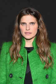 Lake Bell was a boho beauty with her center-parted waves at the Armani Prive fashion show.