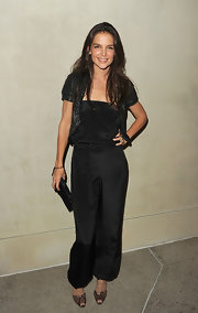Katie stepped out in a black harem jumpsuit for the 'Vanity Fair' private dinner in LA.
