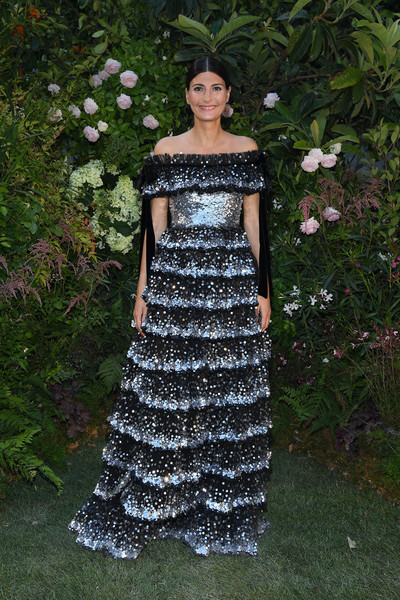 Giovanna Battaglia Off-the-Shoulder Dress [clothing,dress,shoulder,fashion,day dress,lady,haute couture,cocktail dress,gown,bridal party dress,valentino,valentino haute couture fall winter 2018,giovanna battaglia,front row,part,paris,france,paris fashion week,show]