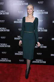 Joely Richardson wore a sage cocktail dress with a square neckline for the 'Girl With the Dragon Tattoo' NY premiere.