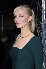 Joely Richardson wore her hair in a sleek ponytail with wispy bangs at the NYC premiere of 'The Girl With the Dragon Tattoo.'