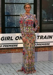 Emily Blunt made a gorgeous choice with this colorful, intricately beaded Alexander McQueen gown for the world premiere of 'The Girl on the Train.'