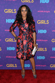 June Ambrose looked very ladylike in a floral dress by Oscar de la Renta during the 'Girls' season 3 premiere.