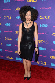 Margot Bingham went for a seductive look with this shiny mesh-panel LBD during the 'Girls' season 3 premiere.