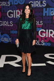 Katie Lee donned a green and black cocktail dress with sheer sleeves for the 'Girls' season 4 premiere.