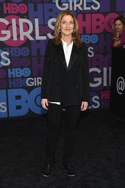 Edie Falco went for a mannish look in a black tux during the 'Girls' season 4 premiere.