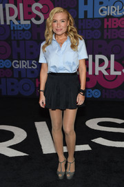 Tracy Anderson was menswear-chic up top in a pastel-blue button-down during the 'Girls' season 4 premiere.