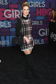Nicky Hilton brought some '60s groove to the 'Girls' season 4 premiere with this plaid turtleneck dress.