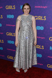Lena Dunham went for a sparkly prom-girl look with this beaded silver Rochas gown during the 'Girls' season 3 premiere.
