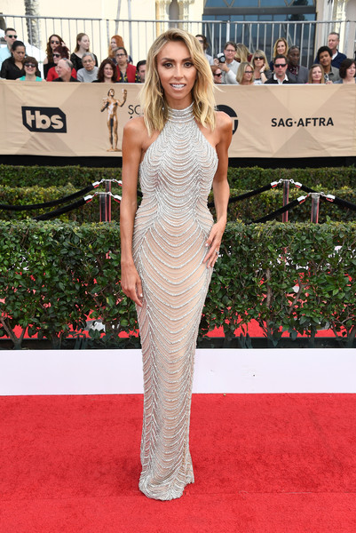 Giuliana Rancic Beaded Dress [red carpet,clothing,dress,carpet,shoulder,fashion model,premiere,fashion,gown,flooring,arrivals,giuliana rancic,screen actors guild awards,los angeles,california,the shrine auditorium]