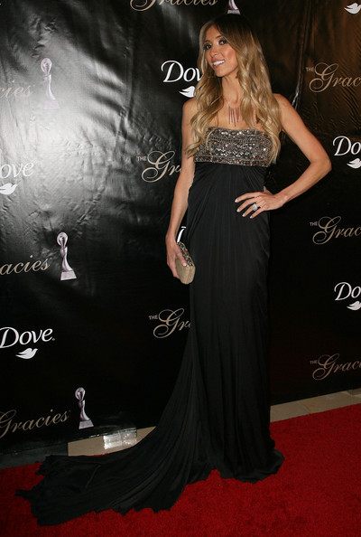 Giuliana Rancic Evening Dress [dress,clothing,gown,carpet,shoulder,red carpet,flooring,fashion,strapless dress,hairstyle,arrivals,giuliana rancic,th,beverly hills,california,gracie awards gala,annual gracie awards gala]