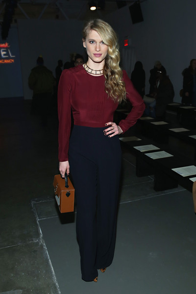 Leven Rambin was business-chic in a long-sleeve two-tone jumpsuit by Giulietta during the label's fashion show.