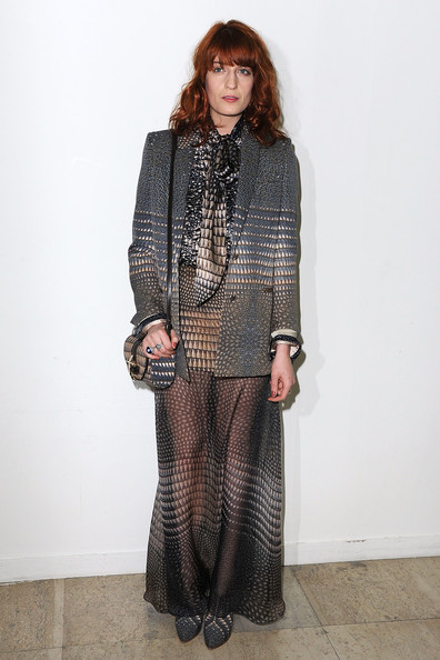 More Pics of Florence Welch Long Skirt (1 of 10) - Florence Welch Lookbook - StyleBistro [clothing,fashion,outerwear,tights,leg,dress,footwear,trousers,neck,street fashion,florence welch,front row,givenchy ready to wear autumn,paris,france,palais de tokyo,givenchy,paris fashion week,show]