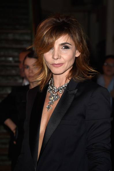 More Pics of Clotilde Courau Pantsuit (2 of 7) - Suits Lookbook - StyleBistro [show,hair,hairstyle,beauty,fashion,layered hair,brown hair,smile,suit,long hair,bangs,clotilde courau,front row,part,paris,france,givenchy,paris fashion week womenswear spring]