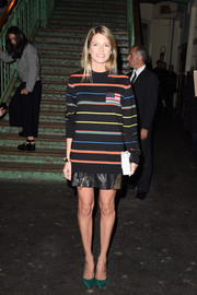 Helena Bordon teamed a colorful striped sweater with a studded leather mini for the Givenchy fashion show.