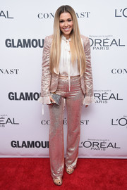Rachel Platten looked party-ready in a pink sequin pantsuit at the 2017 Glamour Women of the Year Awards.