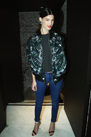 Hanneli Mustaparta was sporty-edgy in a star-print track jacket during the Glamour dinner for Patrick Demarchelier.