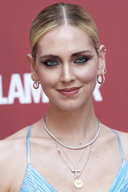 Chiara Ferragni styled her hair into a slick updo for the Glamour dinner in Madrid.
