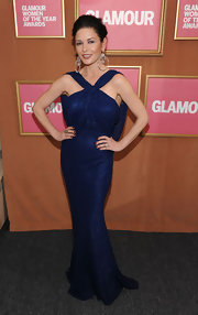 Catherine Zeta Jones stole the show in a sparkling sapphire blue halter neck gown