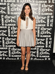 Aubrey Plaza completed her girly ensemble with a pair of flat cutout Mary Janes.