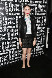 Zosia Mamet sported an edgy leather-on-leather look with this jacket and mini skirt combo during Glamour's presentation of 'These Girls.'