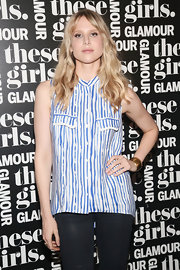 Lucy Punch kept it casual in a sleeveless print blouse during Glamour's presentation of 'These Girls.'