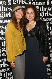 A stylish black leather jacket finished off Kathy Najimy's outfit in edgy style during Glamour's presentation of 'These Girls.'