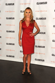 Victoria Smurfit donned a red cocktail dress with a shoulder ruffle for the Glamour Reel Moments.