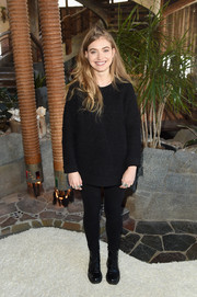 Imogen Poots matched her top with a pair of black leggings.