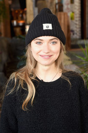 Imogen Poots matched her sweater with a black beanie for the Women Rewriting Hollywood lunch.