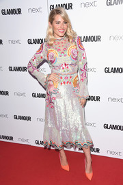 Mollie King made a vibrant choice with this floral-embroidered sequin dress by Temperley London for the 2017 Glamour Women of the Year Awards.