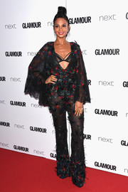 Alesha Dixon got frilled up in a caped, embroidered jumpsuit by Tony Ward Couture for the 2017 Glamour Women of the Year Awards.