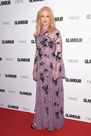 Nicole Kidman opted for a demure lavender and black lace gown by Erdem when she attended the 2017 Glamour Women of the Year Awards.