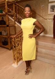 Samira Wiley was svelte and chic in a yellow sheath dress at the Glamour x Tory Burch Women to Watch lunch.