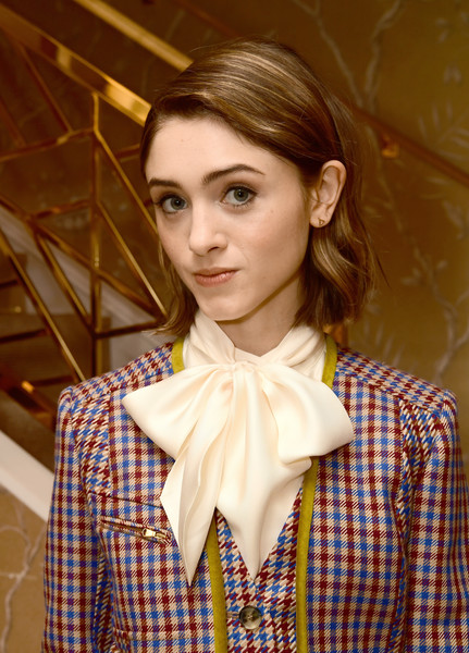 More Pics of Natalia Dyer Fur Purse (1 of 2) - Fur Purse Lookbook - StyleBistro [hair,beauty,hairstyle,yellow,neck,lip,fashion,collar,brown hair,tartan,tory burch women to,tory burch women to watch lunch,natalia dyer,beverly hills,california,glamour,lunch]