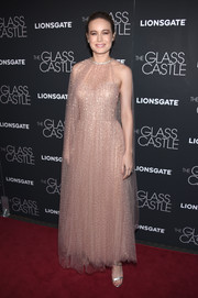 Brie Larson looked dreamy in a studded blush bustier dress by Monique Lhuillier at the New York screening of 'The Glass Castle.'
