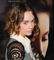 Brigette Lundy-Paine styled her hair into a curled-out bob for the New York screening of 'The Glass Castle.'
