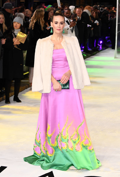 Sarah Paulson looked mesmerizing in a strapless lavender Prada gown with a green and yellow flame-motif hem at the UK premiere of 'Glass.'
