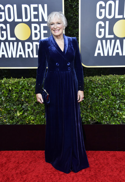 Glenn Close Tuxedo Dress [carpet,red carpet,clothing,dress,cobalt blue,premiere,electric blue,flooring,fashion,gown,arrivals,glenn close,the beverly hilton hotel,beverly hills,california,golden globe awards,annette bening,celebrity,golden globe awards,red carpet,actor,golden globe award for best actress \u2013 motion picture \u2013 drama,2020,internet meme]
