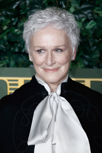 Glenn Close Messy Cut [hair,blond,hairstyle,formal wear,forehead,suit,tuxedo,lip,smile,white-collar worker,red carpet arrivals,glenn close,london evening standard theatre awards,london,england,the old vic theatre,the london evening standard theatre awards]