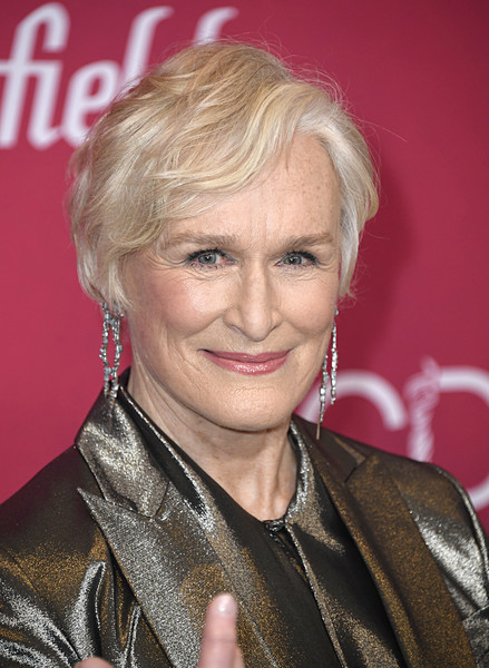 Glenn Close Short Wavy Cut [hair,blond,hairstyle,eyebrow,chin,layered hair,feathered hair,hair coloring,surfer hair,arrivals,glenn close,costume designers guild awards,beverly hills,california,the beverly hilton hotel,cdga]